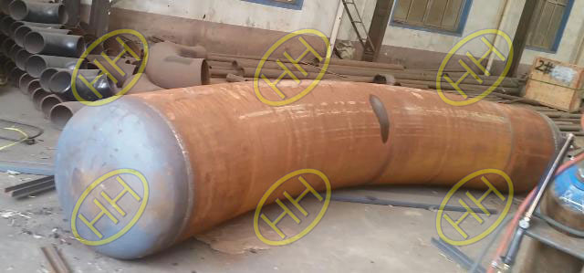 Hot induction bend ready for burst proof test in Hebei Haihao