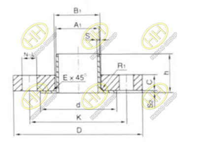 Butt welding ring lap joint flange drawing