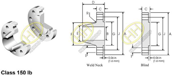 ANSI ASME B16.47 Flange Series B API 605 Flange Dimensions 150lb