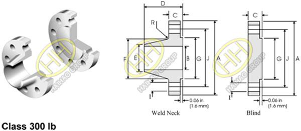 ANSI ASME B16.47 Flange Series B API 605 Flange Dimensions 300lb