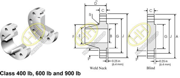 ANSI ASME B16.47 Flange Series B API 605 Flange Dimensions Class 400lbs