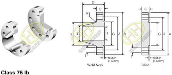 ANSI ASME B16.47 Flange Series B API 605 Flange Dimensions 75lb