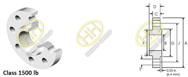 ANSI ASME B16.5 Class 1500lb Slip On Flange Dimensions