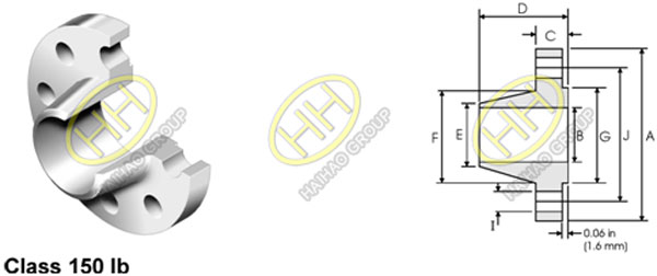 ANSI ASME B16.5 Class 150lb Weld Neck Flange Dimensions