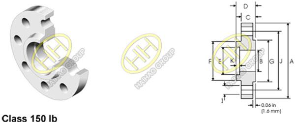 ANSI ASME B16.5 Class 150 Socket Weld Flange Dimensions
