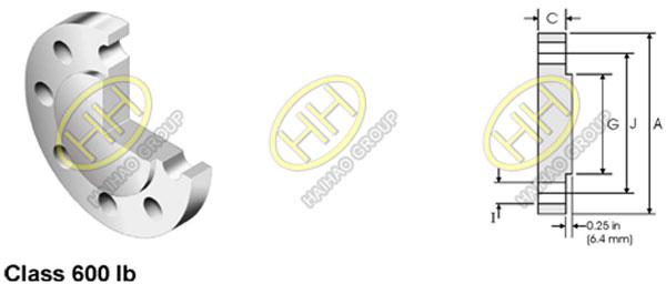 ANSI ASME B16.5 Class 600 Blind Flange Dimensions