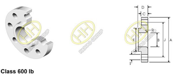 ANSI ASME B16.5 Class 600 Lap Joint Flange Dimensions