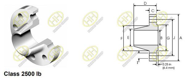 ANSI/ASME B16.5 class 2500 weld neck flange