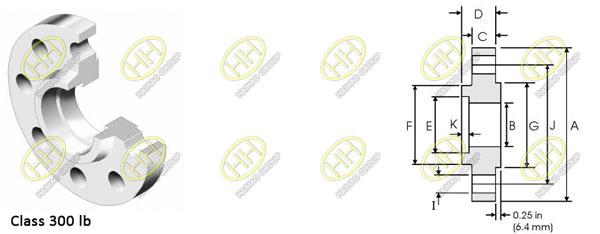 ANSI ASME B16.5 class 300 socket weld flange dimensions