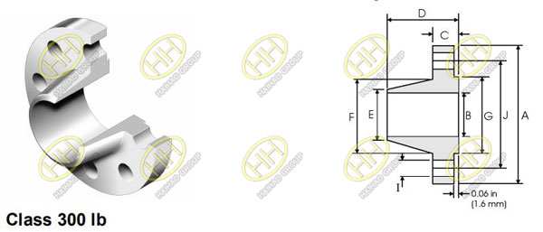 ANSI/ASME B16.5 class 300 weld neck flange