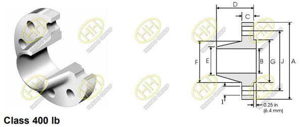 ANSI/ASME B16.5 class 400 weld neck flange