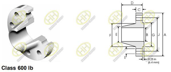 ANSI/ASME B16.5 class 600 weld neck flange
