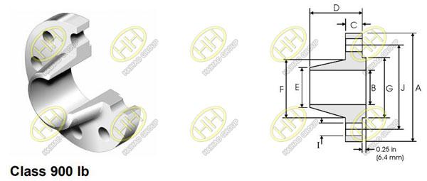 ANSI/ASME B16.5 class 900 weld neck flange