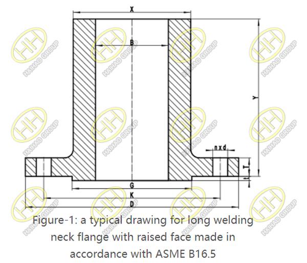 ASME B16.5 Long Weld Neck Flange Drawing